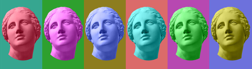 Six colorful gypsum copy of ancient statue Venus head isolated on a multicolors background. Zin art. Fototapete