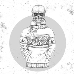 Hand drawing hipster illustration of skull with pullover on grunge background. Hipster fashion style