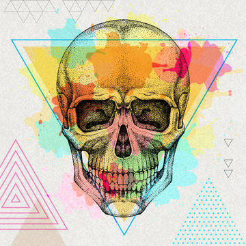 Hand drawing hipster skull illustration on artistic watercolor background. Hipster fashion style