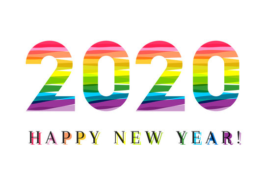 2020 made of colorful paint strokes. Cheerful new year concept with creative and bold lettering.