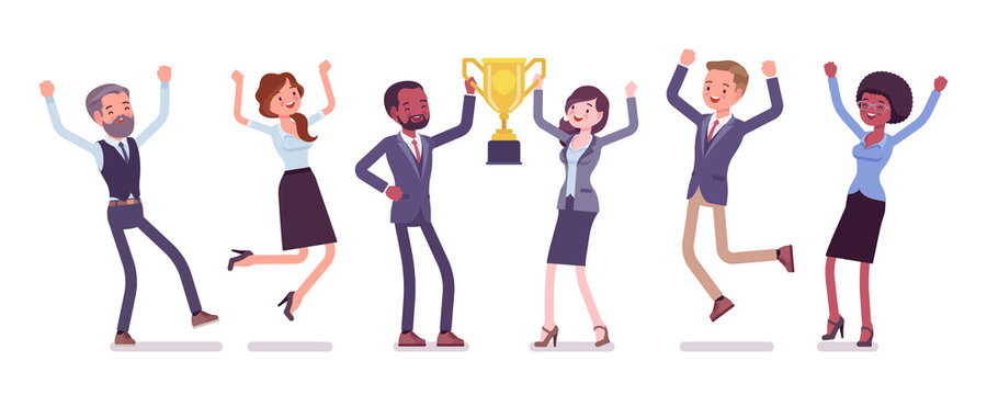 Winner team with business trophy. Happy employees winning on training and coaching competition, corporate championship victory. Vector flat style cartoon illustration isolated on white background