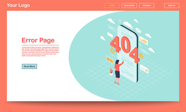 Error page isometric landing page template. 404 broken link notification on smartphone. User, client web search malfunction experience. Server not found message on webpage with text space