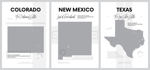 Vector posters with highly detailed silhouettes of maps of the states of America, Division Mountain and West South Central - Colorado, New Mexico, Texas - set 13 of 17