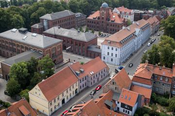 Blick von der Nikolaikirche auf das Universitätsgelände