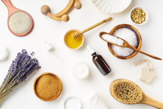 Spa beauty skincare flatlay with lavender and fresh ingredients or homemade beauty products and scrubs. Overhead view, copy space.