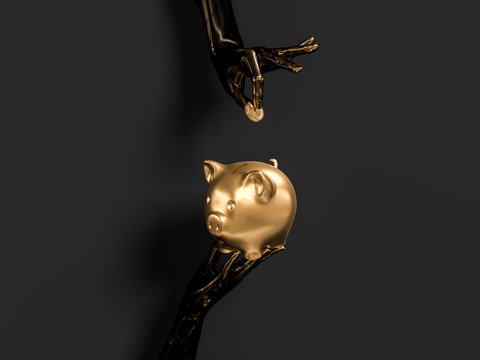 save money concept. Black and gold abstract hands and piggy bank  3d illustration