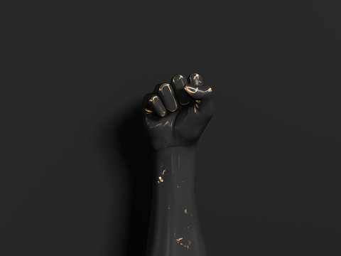 Black and gold metallic Hand Fist sculpture, human rights, protest, conflict or winner concept, 3d illustration