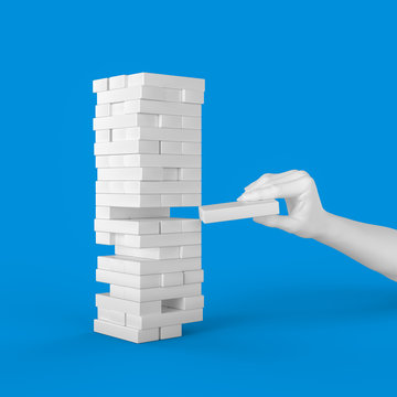 abstract hand pulling out or placing white block on the tower. plan and strategy in business. 3d illustration
