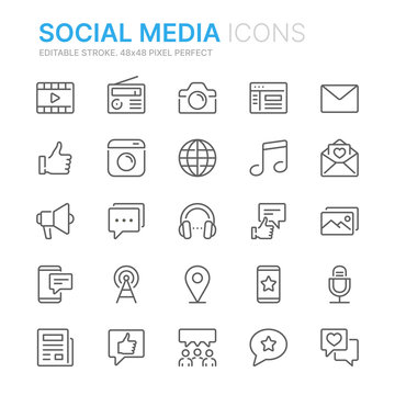 Collection of social media related line icons. 48x48 Pixel Perfect. Editable stroke
