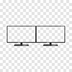 Two desktop monitors isolated on transparent background. Two widescreen monitors template. Full hd aspect ratio 16:9