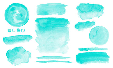 Turquoise watercolor stains Blue washes set Brush paint strokes kit Invitation card design Fotobehang
