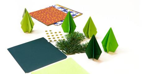 Weihnachten, Weihnachtsbäume, Origami, Dekoration