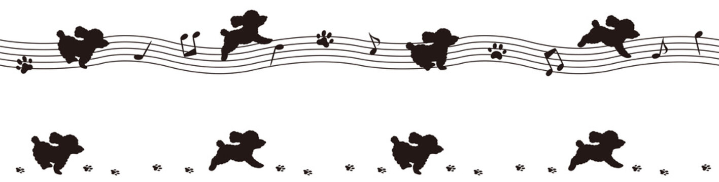 五線譜と子犬のシルエットライン(トイプードル)
