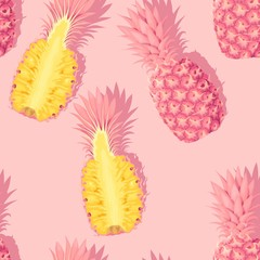 Seamless pattern with high detail pink pineapples