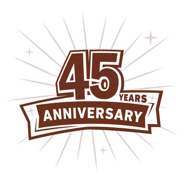 45 years anniversary logo design . 45th years logo. Forty-fifth vector and illustration.