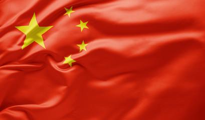 Waving national flag of China Fototapete