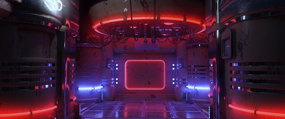 Fotomurales - 3D illustration of a futuristic room with blue and red neon lights. Cyberpunk scene. Industrial wallpaper.
