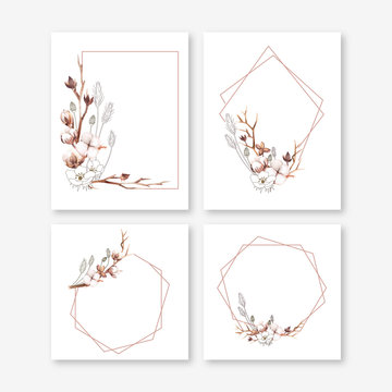 Wedding invitation frame set. arrangement of cotton boll, cotton branch, wild grass and dried flower in hand painted watercolour and line art style (mix). Isolated on white background