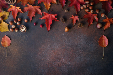 Autumn background with nuts and autumn leaves  on dark stone table Wall mural