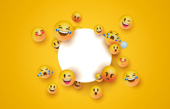 Fun yellow emoji icon white circle frame template