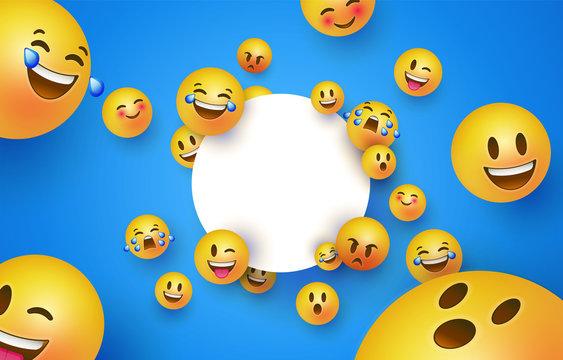 Fun yellow smiley icon white circle frame template