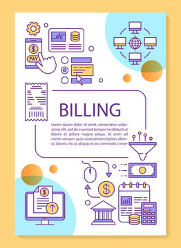 Billing service poster template layout. Cash free transaction, savings system. Banner, booklet, leaflet print design with linear icons. Vector brochure page layouts for magazines, advertising flyers