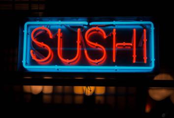 In de dag Sushi bar neon sushi sign outside of a restaurant