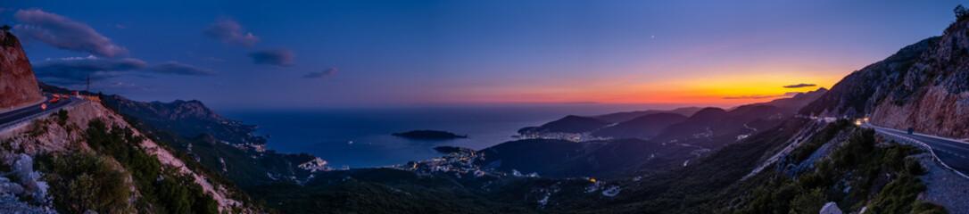 Budva riviera night coastline. Montenegro, Balkans, Adriatic sea. Fototapete