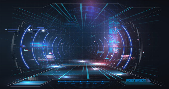 Virtual reality. Futuristic VR Head-up Display Design. Sci-Fi Helmet. Future Technology. Hi tech future design. HUD GUI UI user interface Cyber technology Futuristic for Virtual Reality