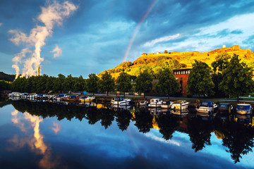 Wall Mural - View of the boats and yachts with Fredriksted fortress in Halden, Norway