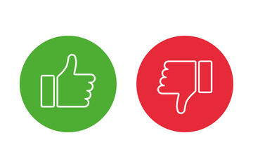 Thumbs up thumbs down red and green isolated vector like social media signs. Fototapete