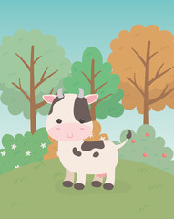 cute cow animal farm character