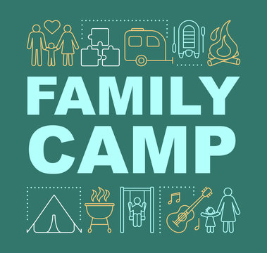 Parenthood country adventure camp word concepts banner. Family outdoor activities. Presentation, website. Isolated lettering typography idea with linear icons. Vector outline illustration