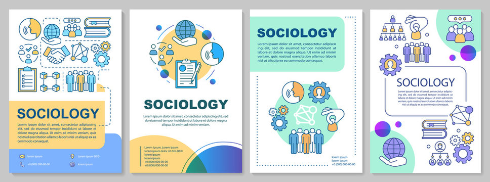 Sociology brochure template layout. Social research, sciences. Flyer, booklet, leaflet print design with linear illustrations. Vector page layouts for magazines, annual reports, advertising posters