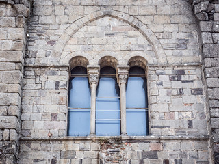 Triple lancet window of medieval cathedral.