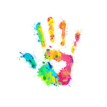 Hand sign of splash paint