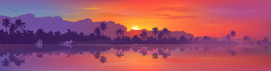 Papiers peints Prune Colorful tropic sunset view to palm trees forest silhouettes with calm ocean water reflection. Vector banner illustration