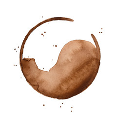 Watercolour illustration of dark brown coffee cup stain with little artistic drops. Handdrawn water color sketchy brush stroke on white backdrop, cutout clipart element for creative design decoration.