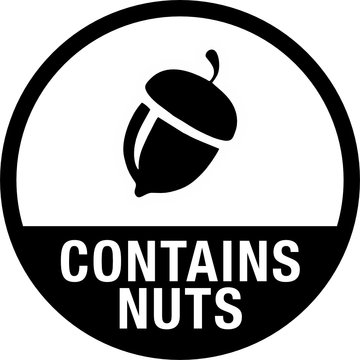 Contains Nuts for Food Packaging Label
