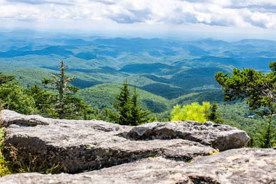 The view from Grandfather Mountain in Western North Carolina near Boone, Linville, and Blowing Rock