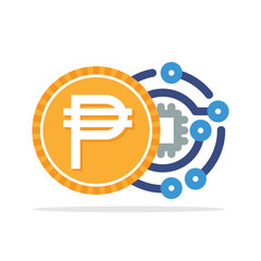 Illustrated icon with the concept of digital money transactions with Philippine currency, Philippine Peso