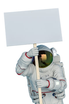 astronaut protesting holding a placard