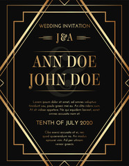 Geometric Gatsby Art Deco Style Black Gold Print Invitation Design