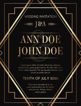 Geometric Art Deco Style Black Gold Print Invitation Design