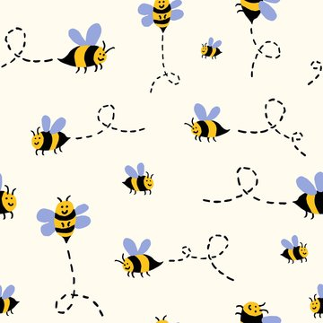 Hand drawn doodle seamless repeat pattern with funny cute smiling buzzing flying bees on a cream background