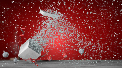 White gift box with red ribbon exploding inside a large number of white stars, the box lid flies out. The box is on a gray wooden floor with decorative balls on the floor. 3D Illustration