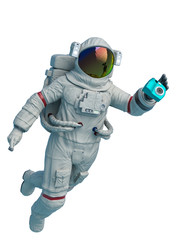 astronaut mechanic is taking a picture in the space