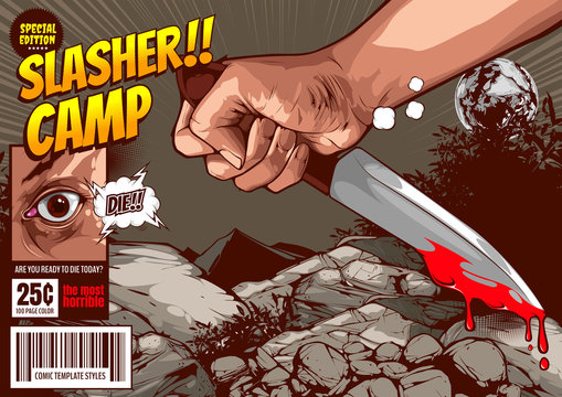 horror comic,slasher camp killer, halloween cover template, Hand holding a knife on night forest background, speech bubbles, doodle art, Vector illustration.