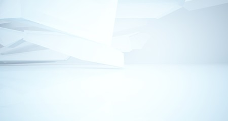 Foto op Plexiglas Heuvel Abstract white interior with window. 3D illustration and rendering.