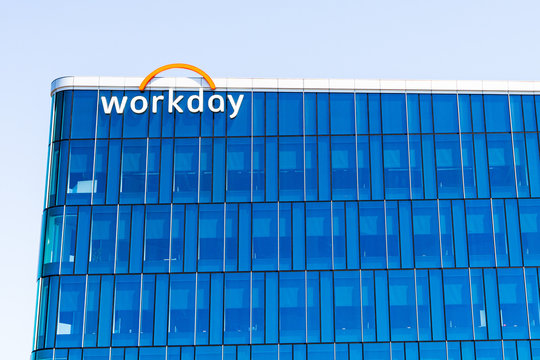 August 25, 2019 Pleasanton / CA / USA - Workday headquarters in Silicon Valley; Workday, Inc. is an on‑demand (cloud-based) financial management and human capital management software vendor